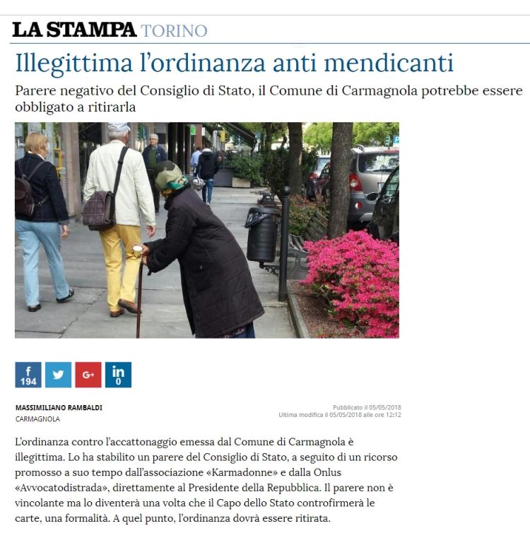 ArticoloLaStampaAntiMendicanti